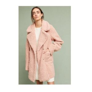 PINK SHERPA ANTHROPOLOGIE COAT SIZE L